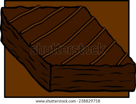 chocolate brownie with caramel stripes - stock vector