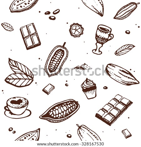 Chocolate cacao pattern: bean, cake, candy, cocoa, dessert, drink, hot,  powder, pudding, Design menu for restaurant, shop, confectionery, culinary, cafe, cafeteria, bar. Retro and vintage style. - stock vector