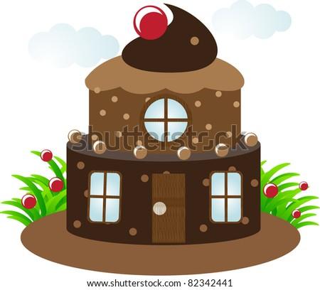 chocolate cake house - stock vector
