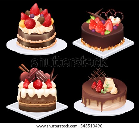 Strawberry cake stock images royalty free images - How to slice strawberries for decoration ...