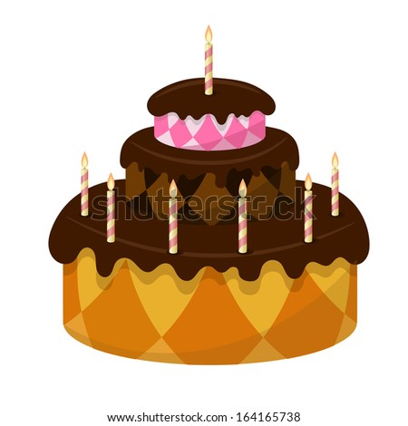 Chocolate cake with burning candles