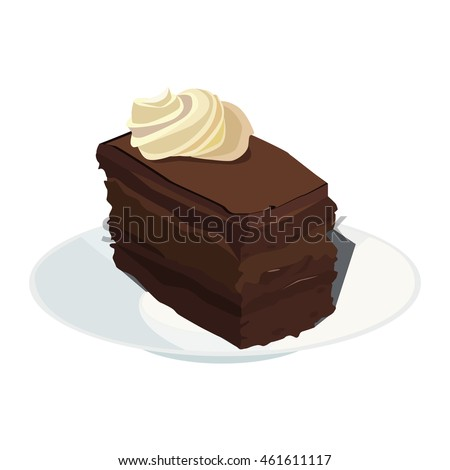 chocolate cake with cream on a plate
