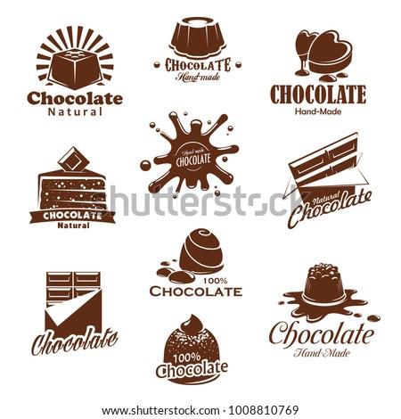 Chocolate Candies Comfits Desserts Choco Splash Stock Vector (2018 ...