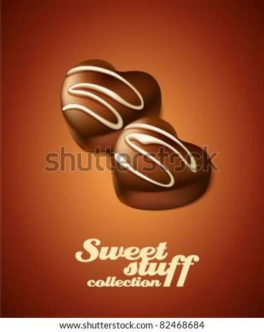 Chocolate candy hearts - stock vector