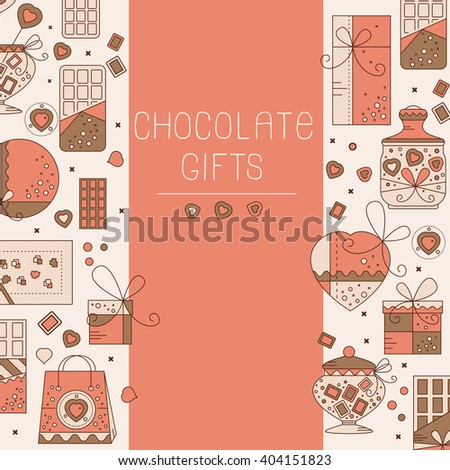 Chocolate card flat icons can use stock vector 404151823 shutterstock chocolate card with flat icons can use for greeting cards certificates flyers m4hsunfo