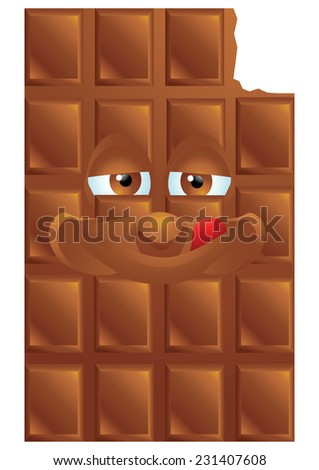 Chocolate cartoon character smiling isolated - stock vector