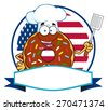 Chocolate Chef Donut Cartoon Character With Sprinkles Over A Circle Blank Label In Front Of Flag Of USA. Vector Illustration Isolated On White - stock