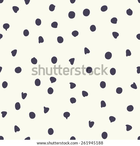 Chocolate chip polka dots, vector seamless pattern - stock vector