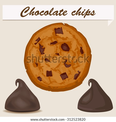 Chocolate chips - stock vector