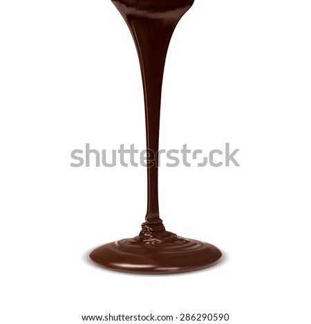 chocolate cocoa flow isolated on white background. vector - stock vector