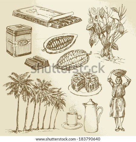 chocolate collection - hand drawn vector illustration - stock vector