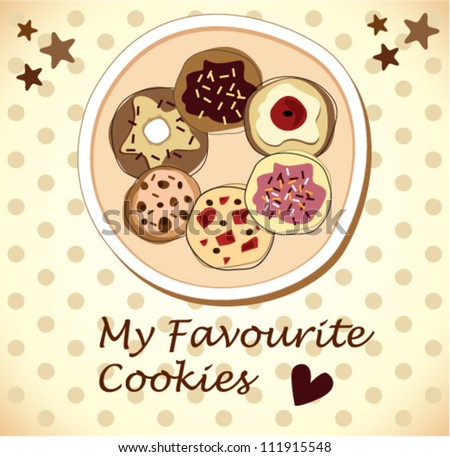 chocolate cookies on a plate - stock vector