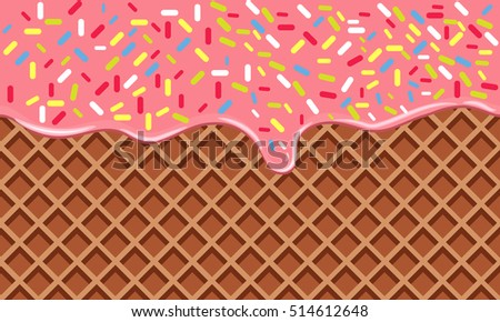 Chocolate Crispy Waffle with Flowing cream with Sprinkles. Wafer Vector Texture. Tasty Food Background with flat color style design