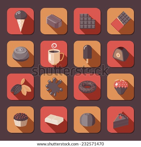 Chocolate delicious cake dark cacao fondue flat icons set isolated vector illustration. - stock vector