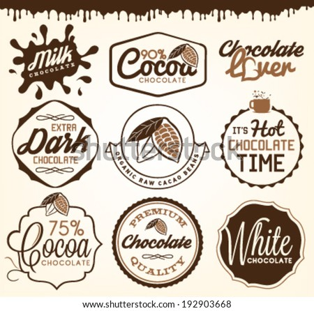 Chocolate Design Elements, Labels and Badges in Vintage Style - stock vector