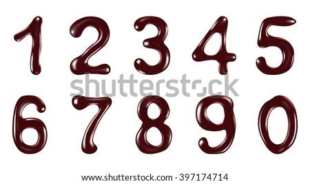 Chocolate digits isolated on white background