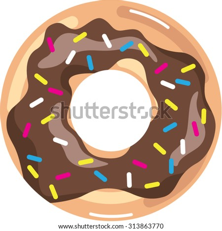 Chocolate Glazed Donut - stock vector