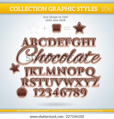Chocolate Graphic styles can be use for decor, text, title, cards, events, posters, icons, logo and other. - stock vector