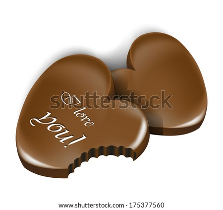 Chocolate heart for Valentine's day - stock vector