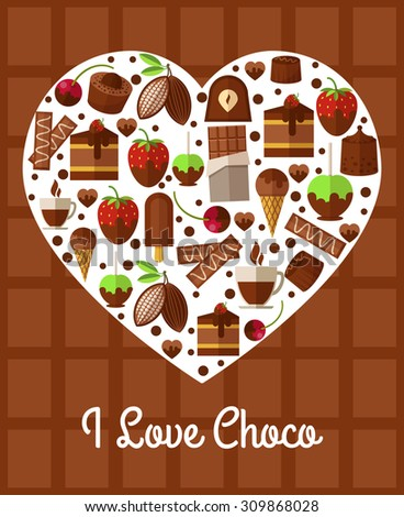 Chocolate heart poster. Love to sweets concept. Dessert banner, coffee and cake, snack product, breakfast and confectionery, vector illustration - stock vector