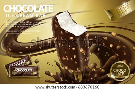 Chocolate ice cream bar ads, crunchy ice bar with premium chocolate sauce and nuts isolated on golden color background in 3d illustration