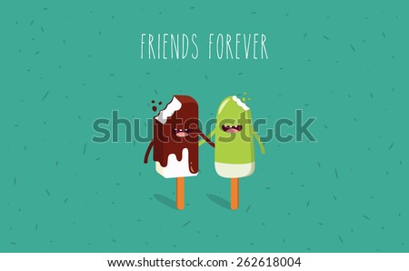 Chocolate ice cream. Vector cartoon. Friends forever. Comic characters. - stock vector