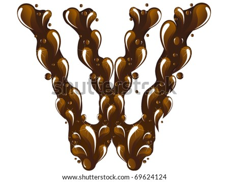 chocolate letter W - stock vector