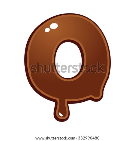 Chocolate melt font type letter O - stock vector