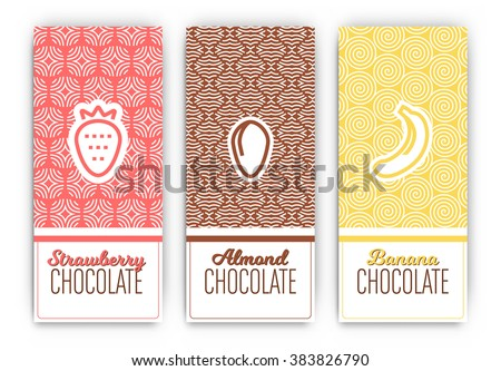 Chocolate Packaging Set - Collection of vertical designs of strawberry, almond, and banana flavoured chocolate bars - mono line style pattern and icon designs - stock vector