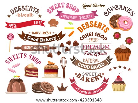 Chocolate pastries and desserts retro icons for confectionery and sweet shop design with tiered cakes and pudding, cupcakes and donuts, cookies, candies and lollipops, ribbon banners and stars  - stock vector