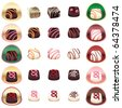 Chocolate pralines - stock vector