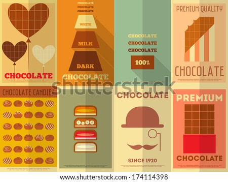 Chocolate Retro Posters Collection in Flat Design Style. Vector Illustration. - stock vector