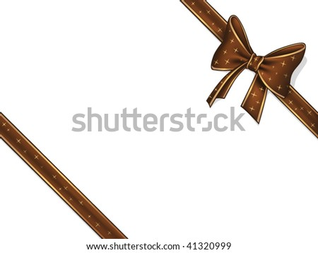 Chocolate ribbon and bow - stock vector