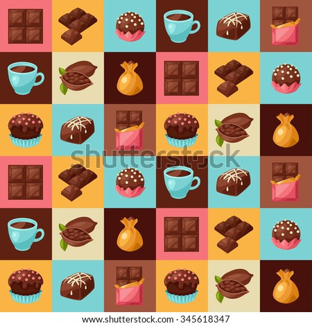 Chocolate seamless pattern with various tasty sweets and candies.