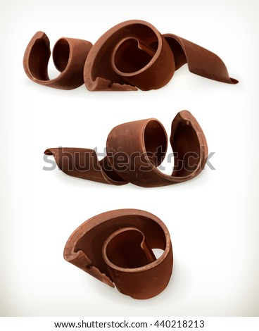 Chocolate shavings, sweet food, vector icon set isolated on white background - stock vector