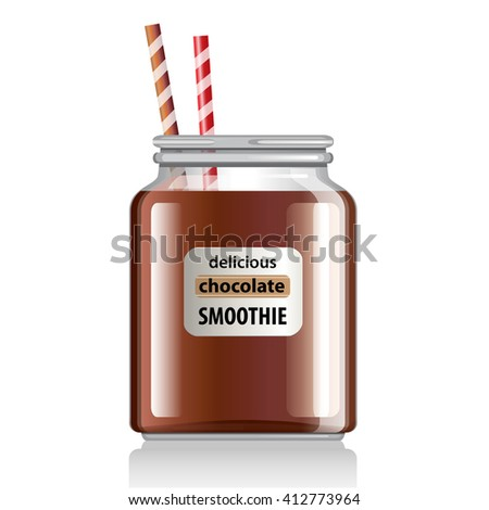 Chocolate Smoothie in glass jar with straws. Tasty summer cocktail vector illustration.
