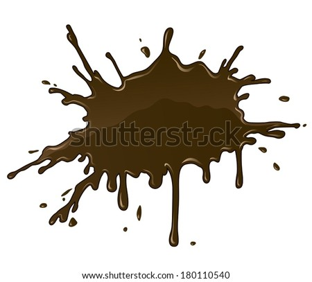 Chocolate splash blot with drops and blot. Eps10 vector illustration. Isolated on white background - stock vector