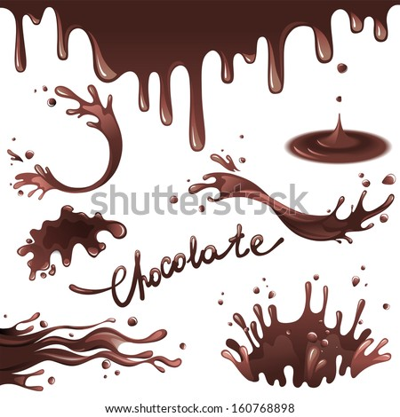 Chocolate splashes  set - stock vector