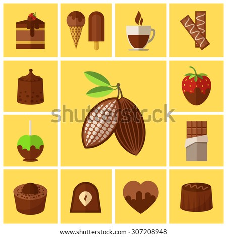 Chocolate sweets, cakes and cocoa bean flat icons. Coffee and food, biscuit taste, caffeine and espresso mug, vector illustration - stock vector