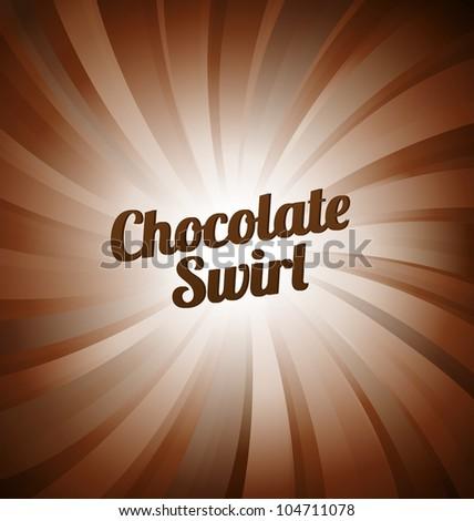 Chocolate swirl - brown background - stock vector
