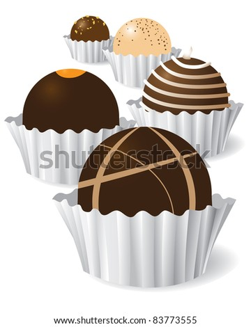 Chocolate truffles A collection of different delicious chocolate truffles. - stock vector