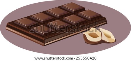Chocolate vector illustration. Beautiful  sweets pattern. Chocolate bar and hazelnut background. - stock vector