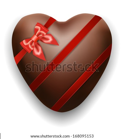 Chocolates heart with silk red ribbon and bow, Valentines day