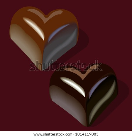 Chocolates shape hearts elements greeting cards stock vector chocolates in the shape of hearts elements for greeting cards for valentines day m4hsunfo