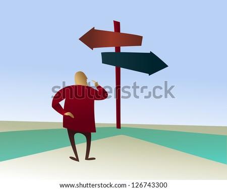 Choices: man on the horns of a dilemma - stock vector