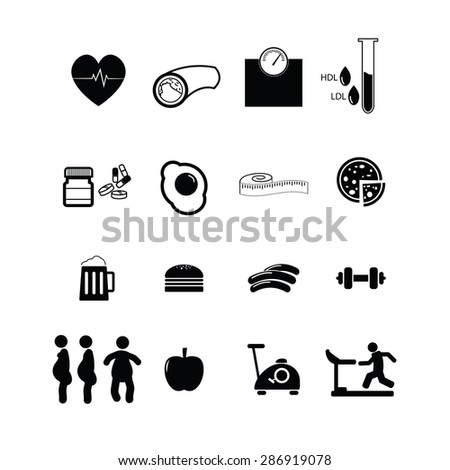 Cholesterol and diabetes icons set vector - stock vector