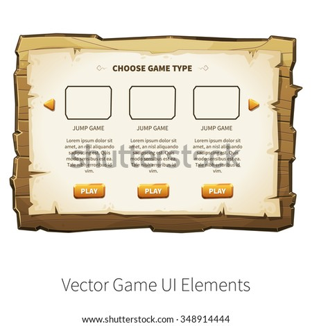 Choose game type screen. Vector graphical user interface (UI GUI) for 2d video games. Wooden menu, panels and buttons for menu. - stock vector