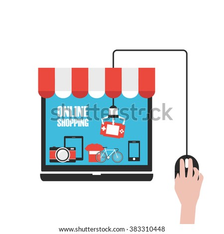 choose product in online shop, isolated on white background - stock vector