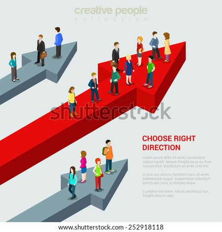 Choose right solution destination alternative flat 3d web isometric micro people infographic concept vector illustration. Three people groups different huge arrow pathways. Creative people collection. - stock vector