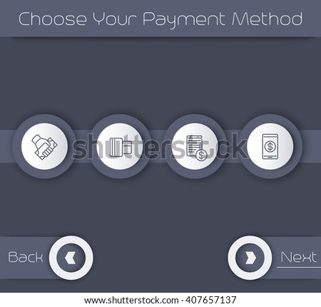 Choose Your Payment Method, web page template in gray, vector illustration
